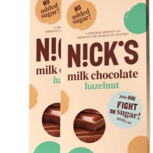 Молочный шоколад NICK'S со стевией, с орехами 20